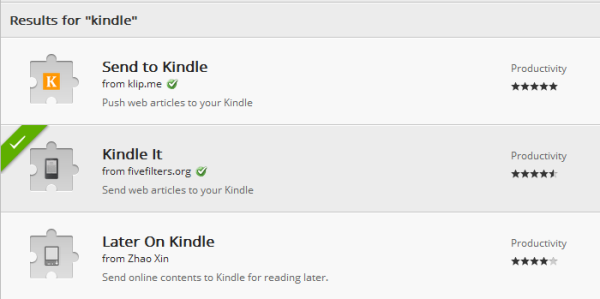 Chrome extension to send pages to Kindle
